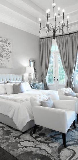 灰色白色欧式卧室效果图