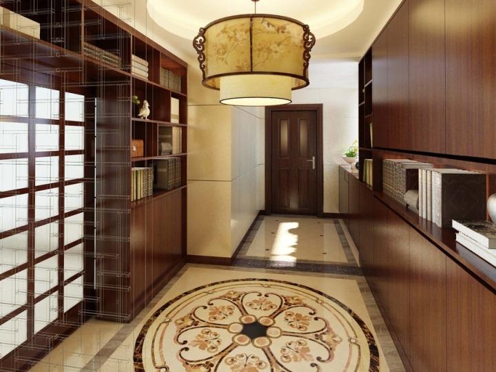经典中式走廊吊顶效果图