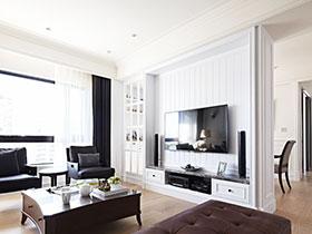 白色墻面巧點綴 15款客廳電視背景墻效果圖
