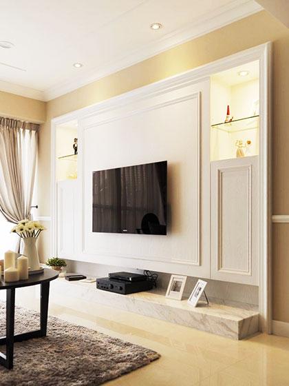 白色墙面客厅电视背景墙效果图