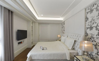 新古典白色床头软包效果图