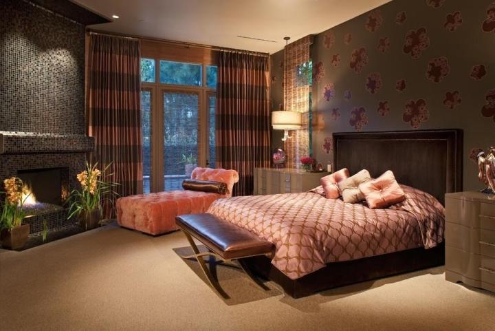 粉色棕色卧室效果图