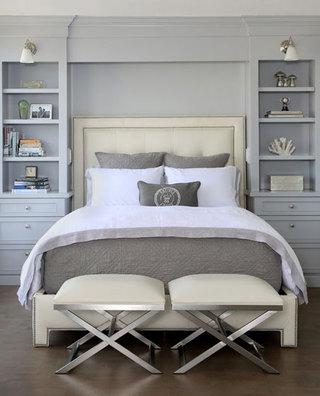 欧式白色蓝灰色卧室效果图