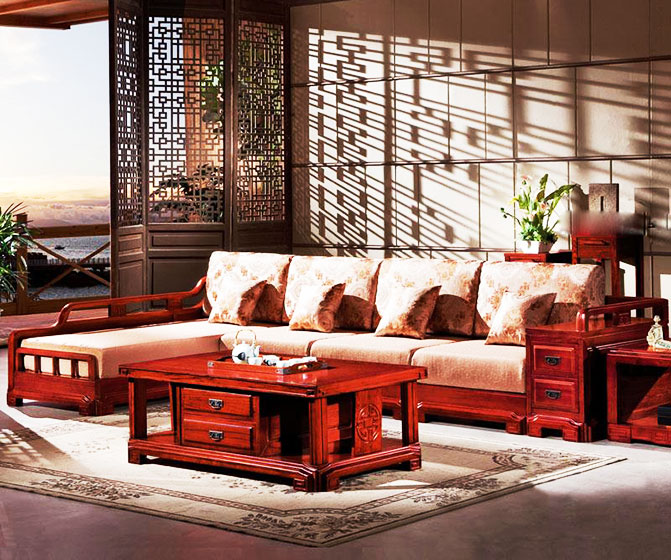 经典客厅红木沙发效果图