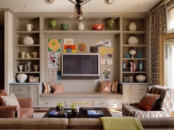 灰色收纳电视背景墙效果图