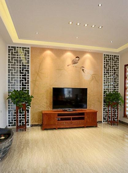 橙黄色中式电视背景墙效果图