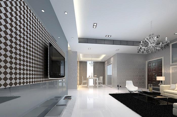 黑白马赛克电视背景墙效果图