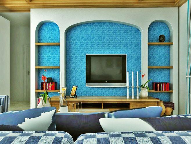 马赛克电视背景墙效果图