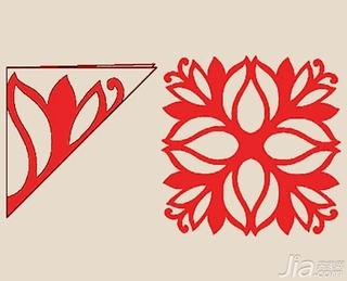 4,用剪刀或者刻刀将图案以外的空白剪掉 5,展开来就是一幅对称的窗花