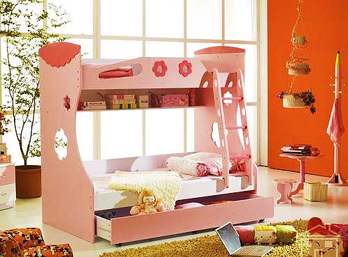粉色儿童床效果图