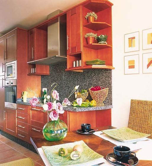 樱桃木开放式厨房设计效果图