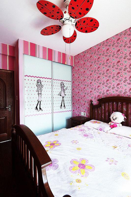 粉色儿童房背景墙效果图