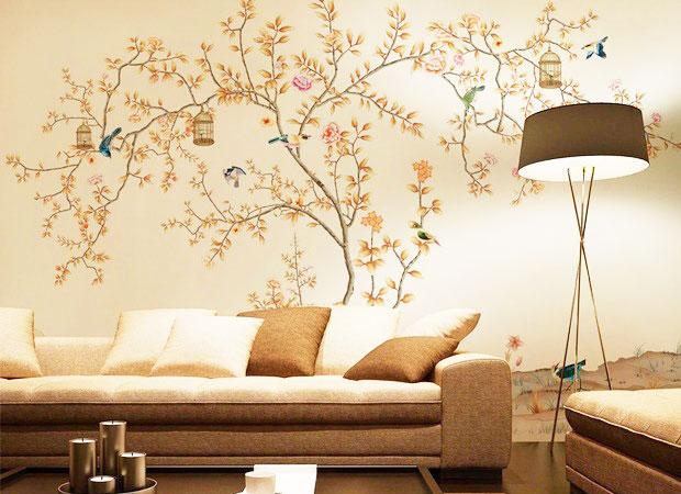 黄色手绘墙效果图