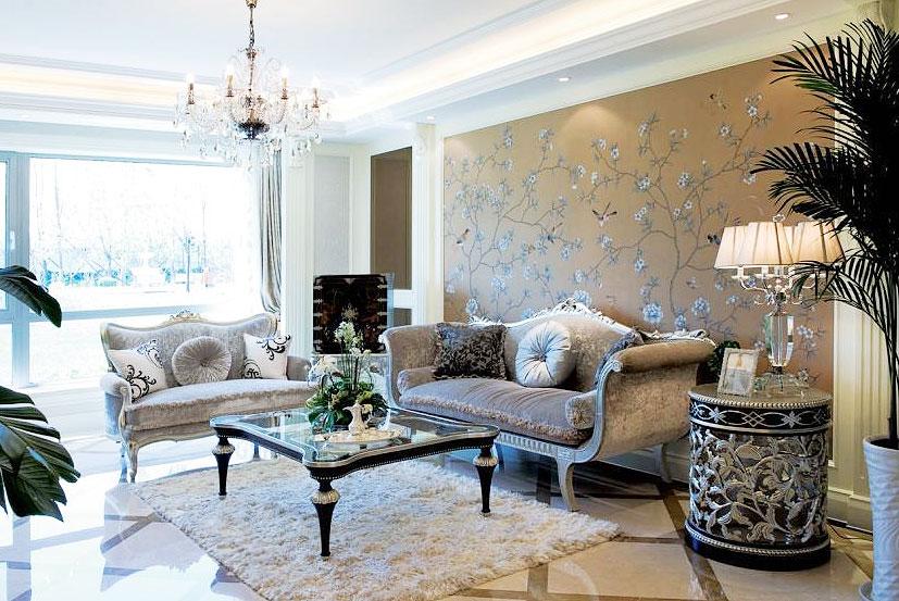 壁纸沙发背景墙效果图