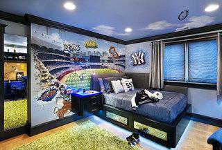 蓝色卧室吊顶效果图