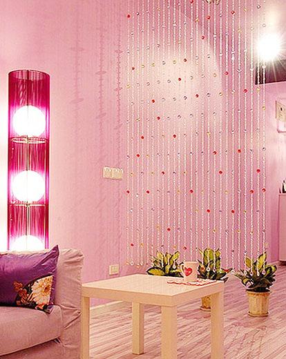 粉色珠帘隔断效果图高清图片