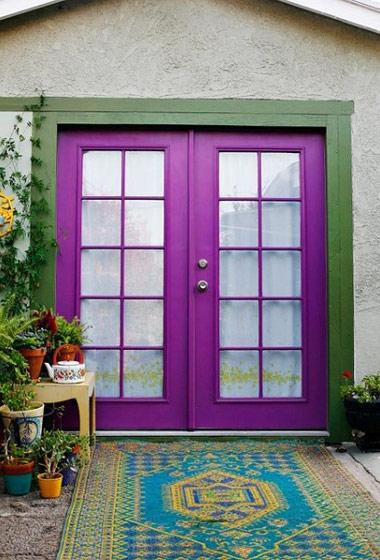 紫色木门玻璃木门图片