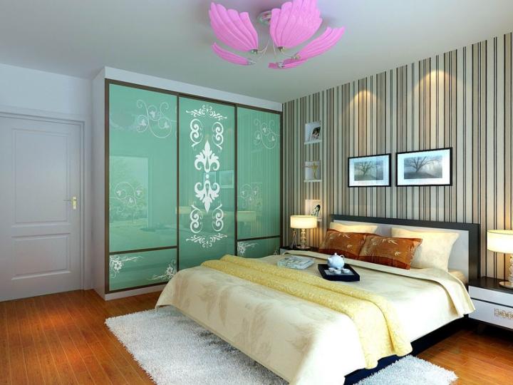 现代风格绿色玻璃门卧室衣柜效果图