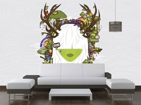 时尚墙体彩绘 12款沙发手绘墙效果图