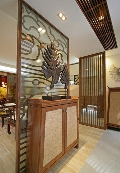 实木中式玄关柜图片