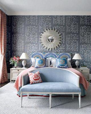 欧式蓝色床头软包效果图片