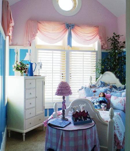 粉色蓝色地中海儿童房效果图