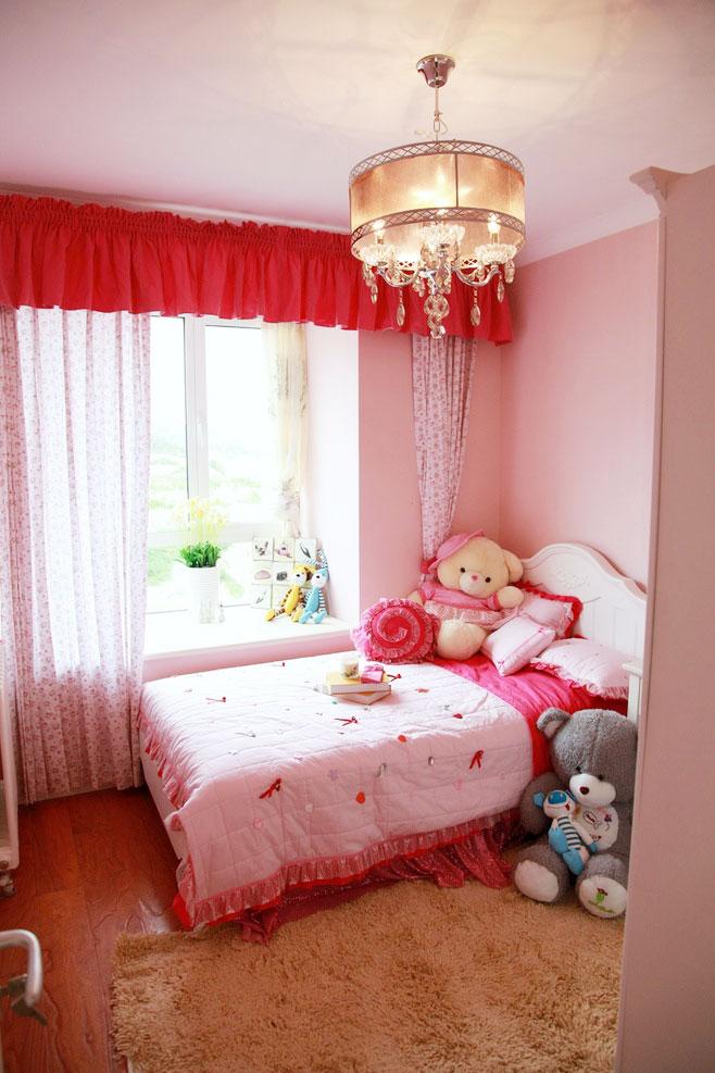 粉色儿童房吊顶效果图