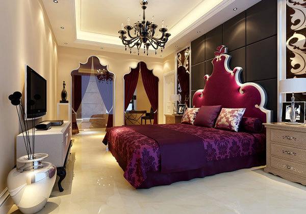 欧式红色床头软包图片