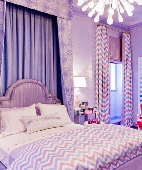欧式紫色卧室效果图