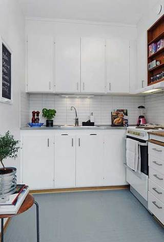 长方形白色橱柜厨房设计效果图