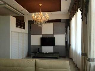 玻璃格子墙砖组合电视柜设计效果图