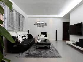 90平黑白配现代简欧三居室 让家更有时尚感