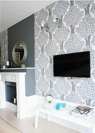 银灰色现代简约电视墙壁纸