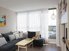 客厅白色纱帘设计 打造明亮空间