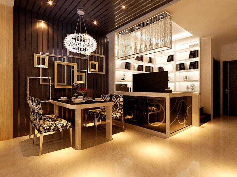 现代简约98平2居室装修效果图,室内设计效果图 齐家装修网高清图片