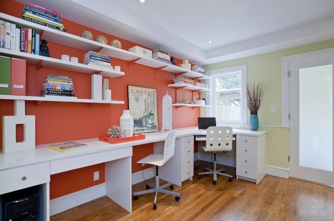 橙色系双人书房设计