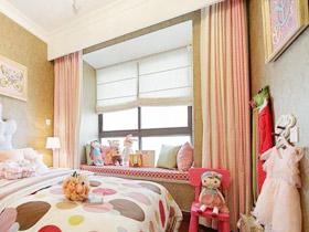 甜美可爱樱花粉飘窗窗帘实景图欣赏