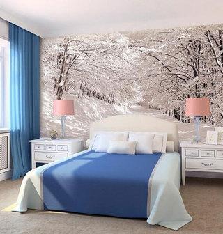 卧室遮光蓝色布艺窗帘