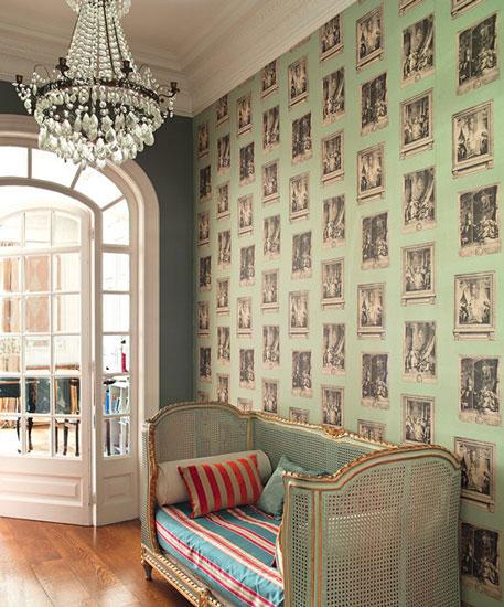 复古壁纸客厅背景墙