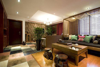 东南亚清新客厅设计效果图