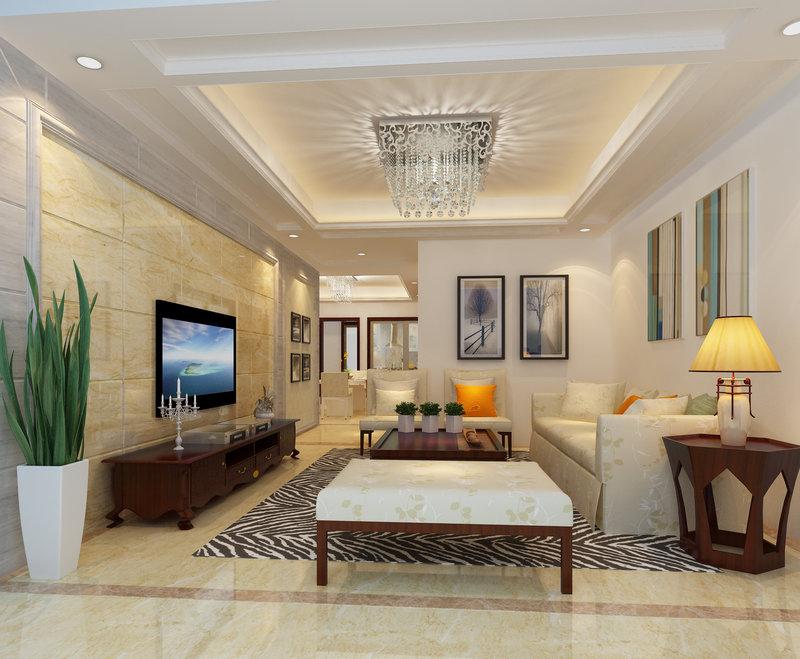 15 20万130平米中式三居室装修效果图,芳辰丽阳装修案例效果图 齐高清图片