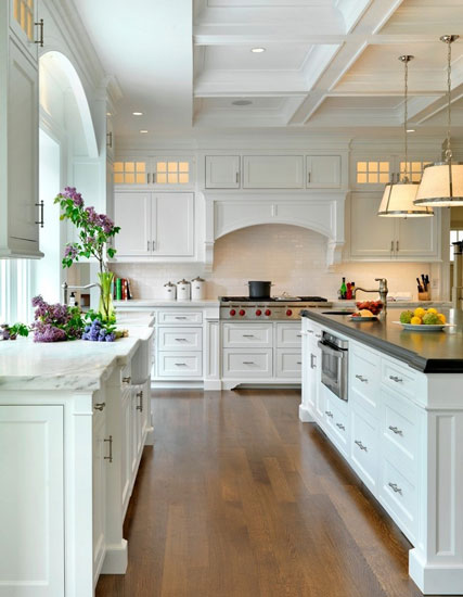 白色欧式简约风格开放式厨房