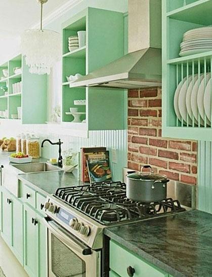 粉绿色厨房