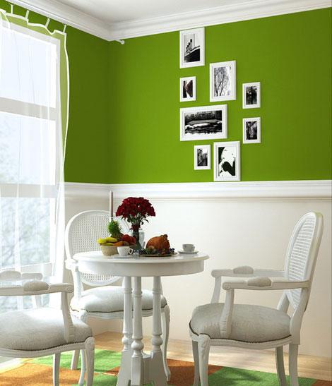 草绿色餐厅背景墙
