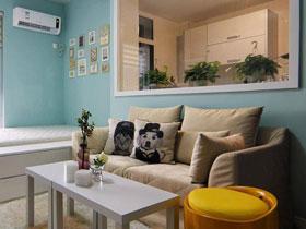 38平清新蓝简约风 小户型公寓效果图