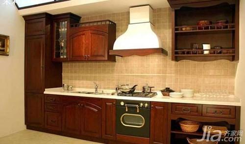 橱柜门板种类之实木门板   此橱柜门板材料门框为实木,以樱