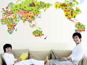 创意地图爬上墙 13个趣味地图装饰背景墙