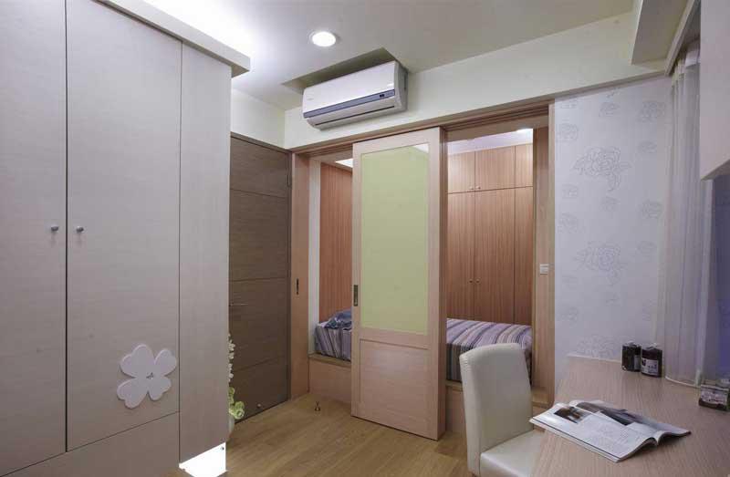 混搭风格二居室90平米效果图