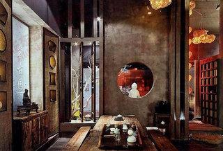 大气中式古韵茶室设计室外垃圾箱设计图图片