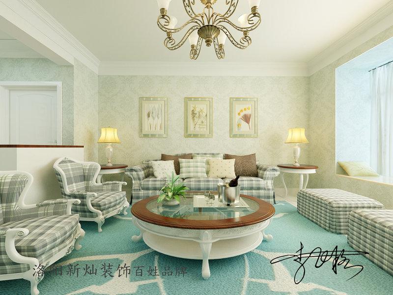 清新自然田园风装修效果图,室内设计效果图 齐家装修网高清图片